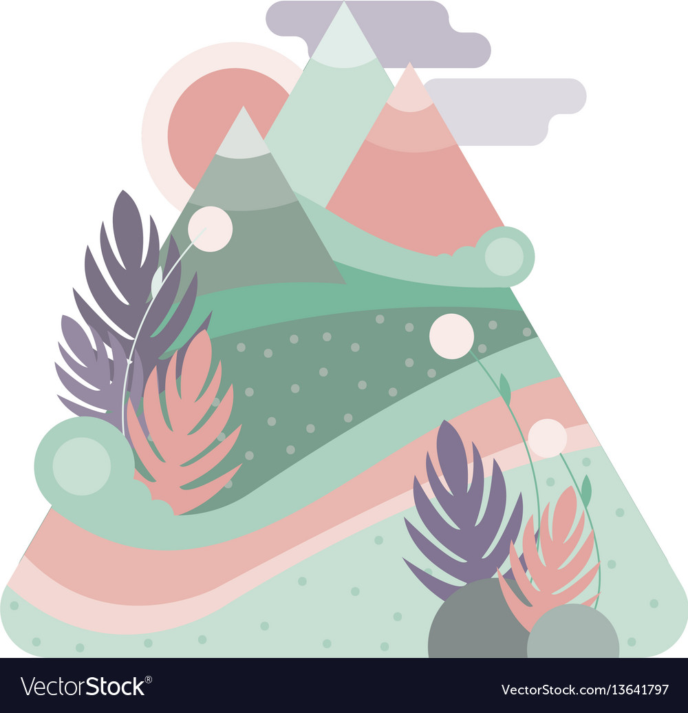 Abstract high mountains pastel color flat design