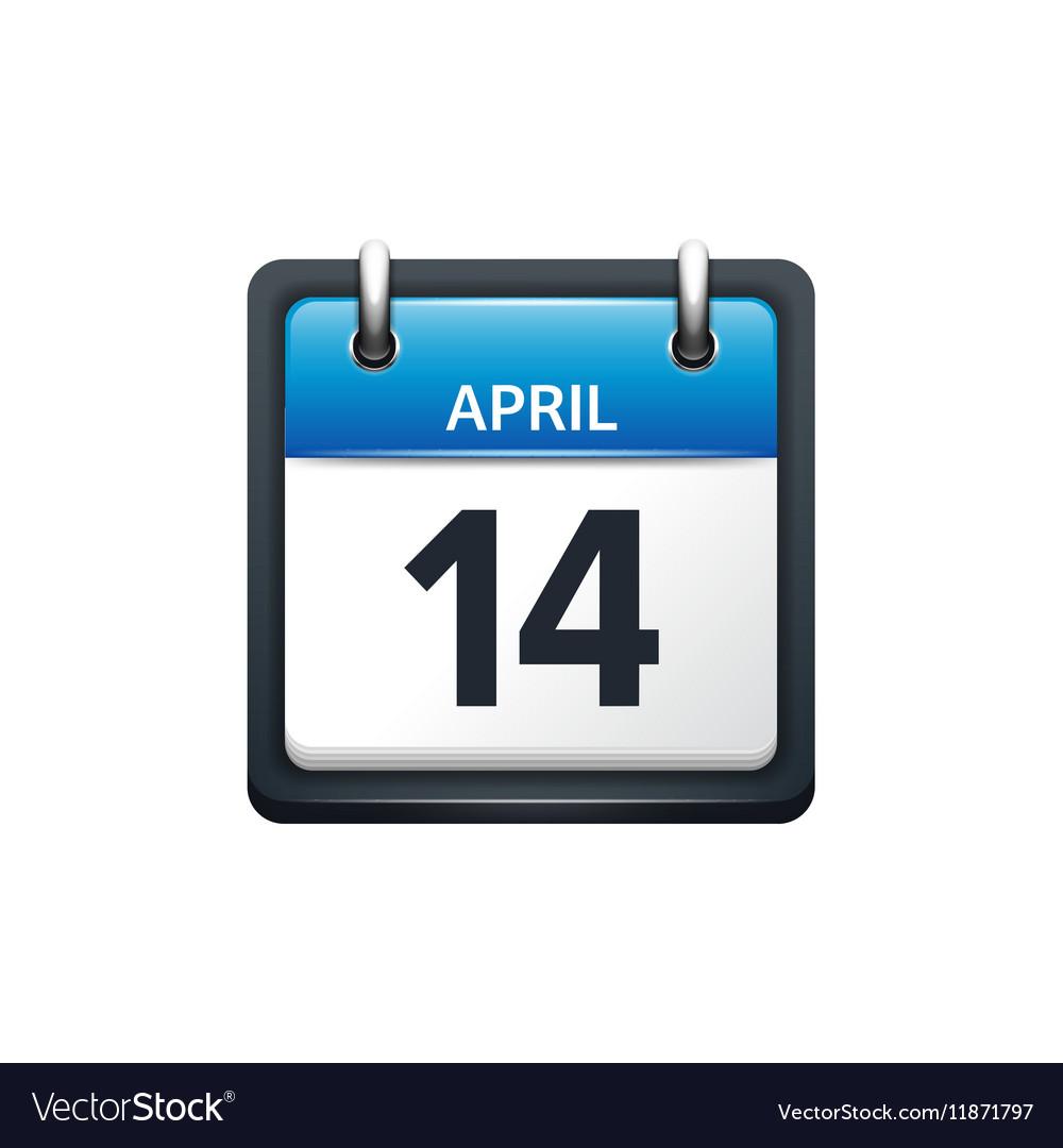 April 14 Calendar icon flat