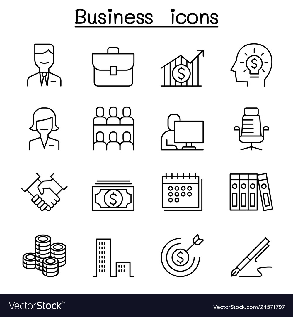 Business icon set in thin line style