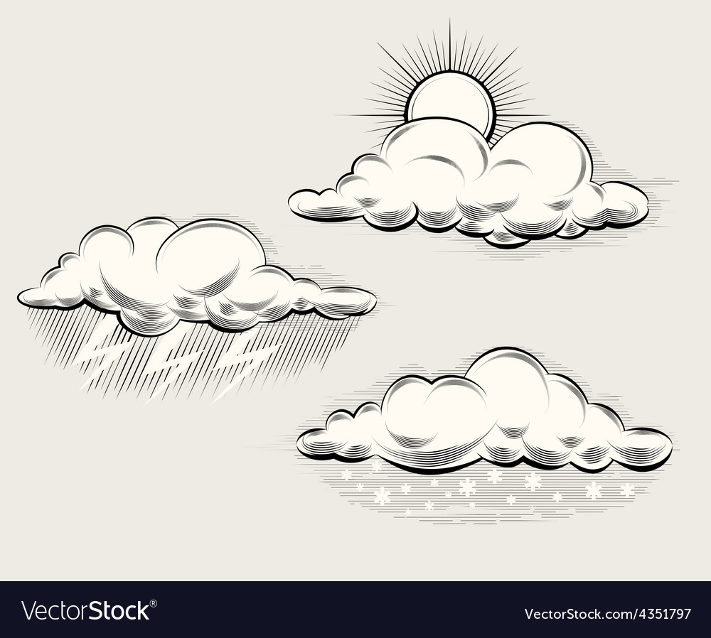 Engraving weather Sun behind cloud rain and