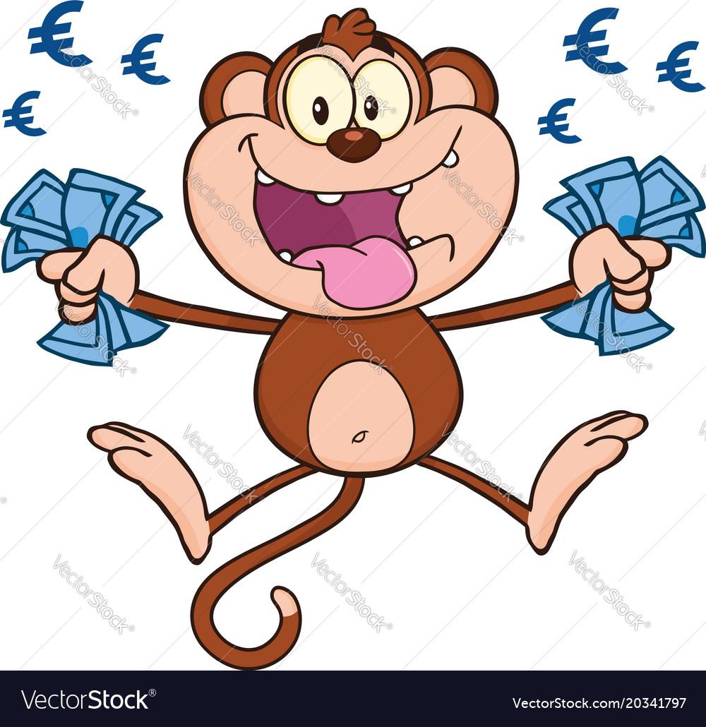 funny monkey character with cash money royalty free vector rh vectorstock com Stacks of Money Clip Art funny money clip art free