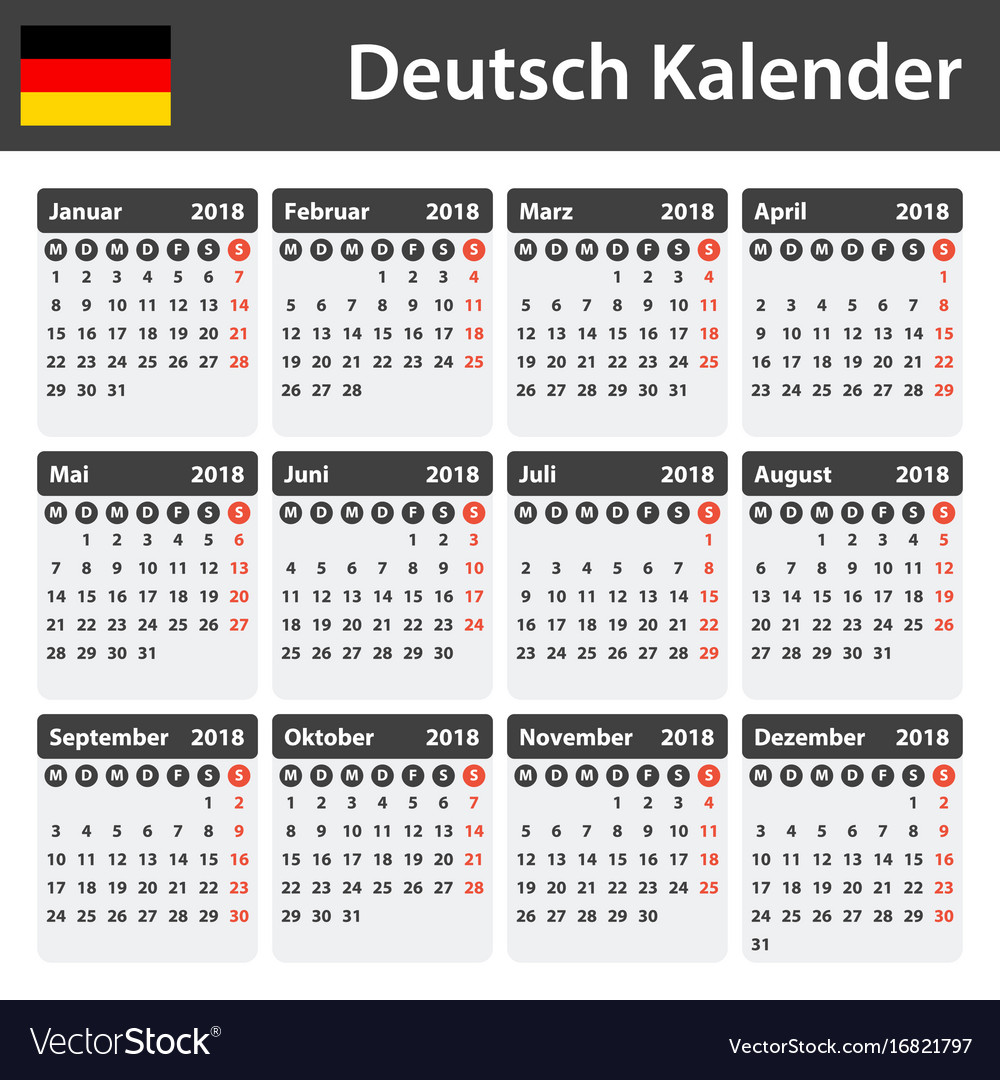 german calendar for 2018 scheduler agenda or vector image
