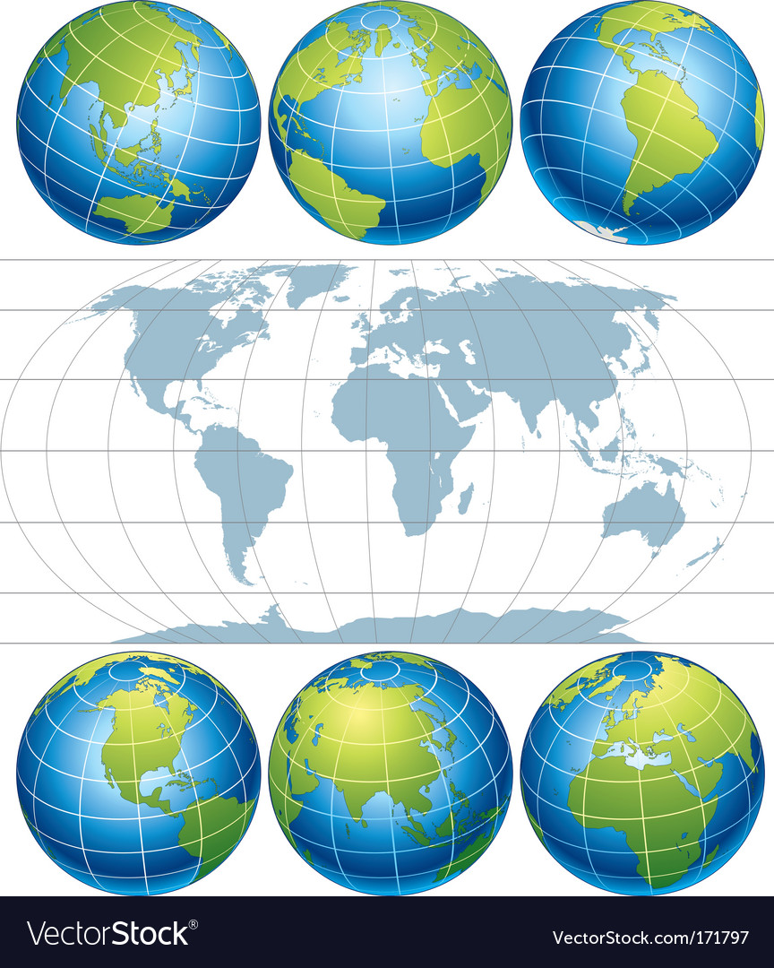 Globe map vector image