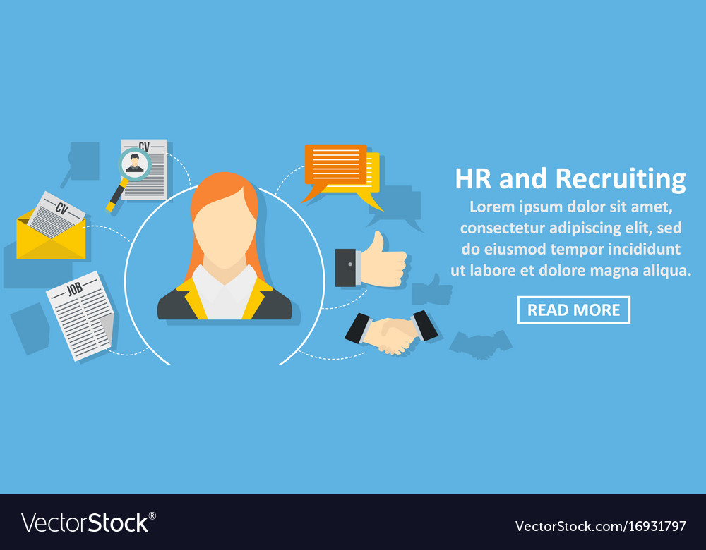 Hr and recruiting banner horizontal concept