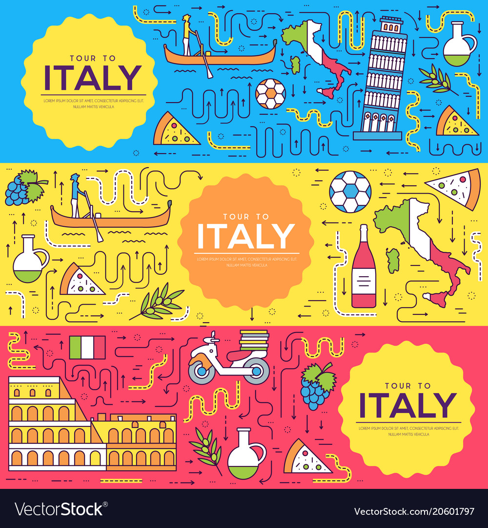 Italy brochure cards thin line set country