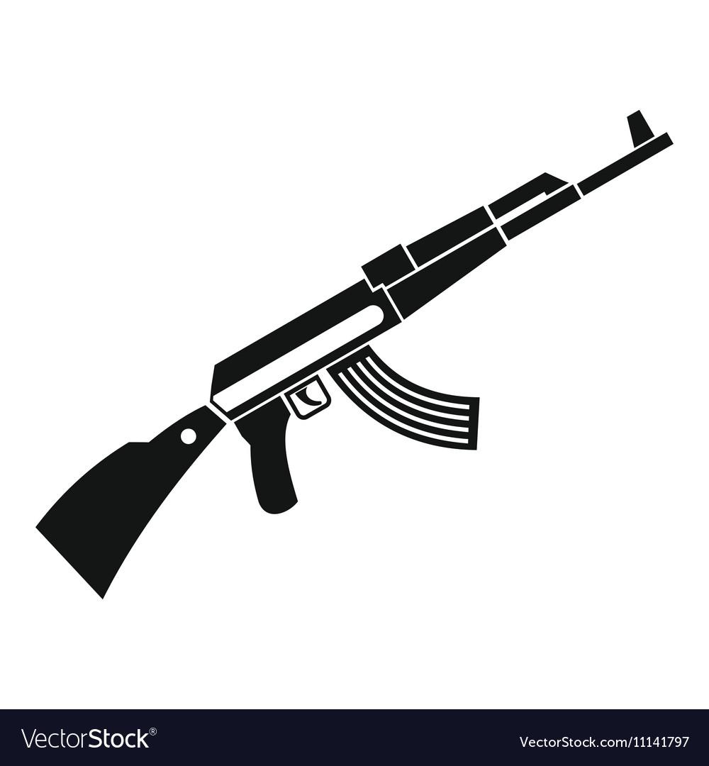 Kalashnikov machine icon simple style vector image