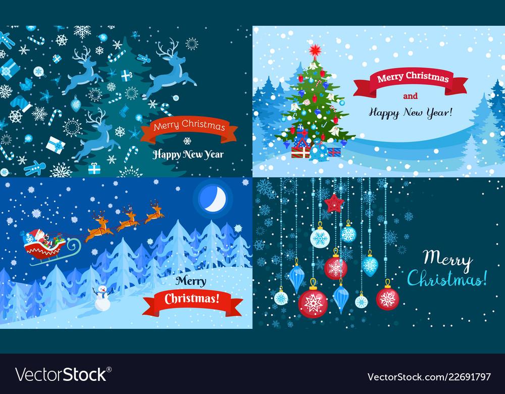 Merry winter christmas banner set flat style