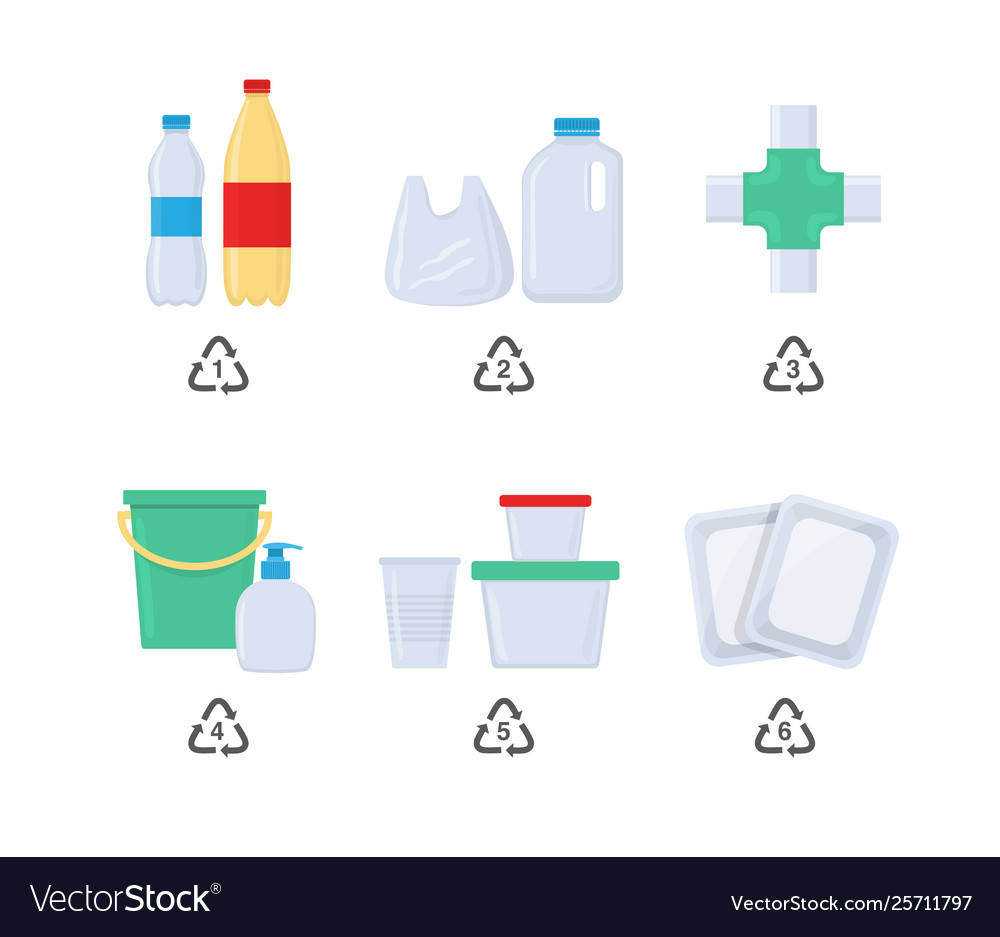 Plastic codes in recycle reuse reduce concept with