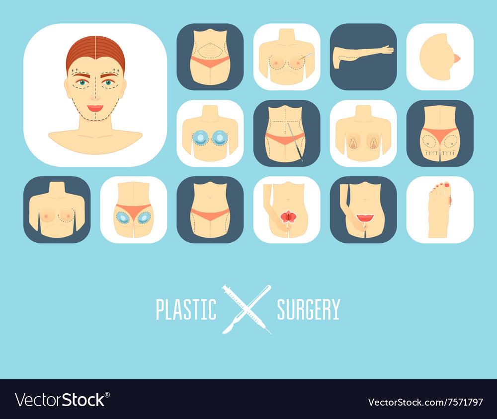 Plastic surgery icon set Plastic surgery banner vector image