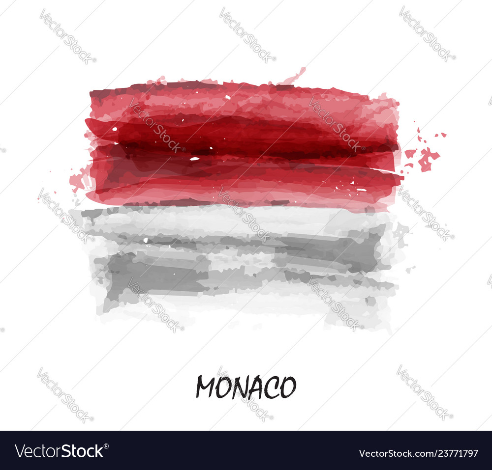 Realistic watercolor painting flag of monaco