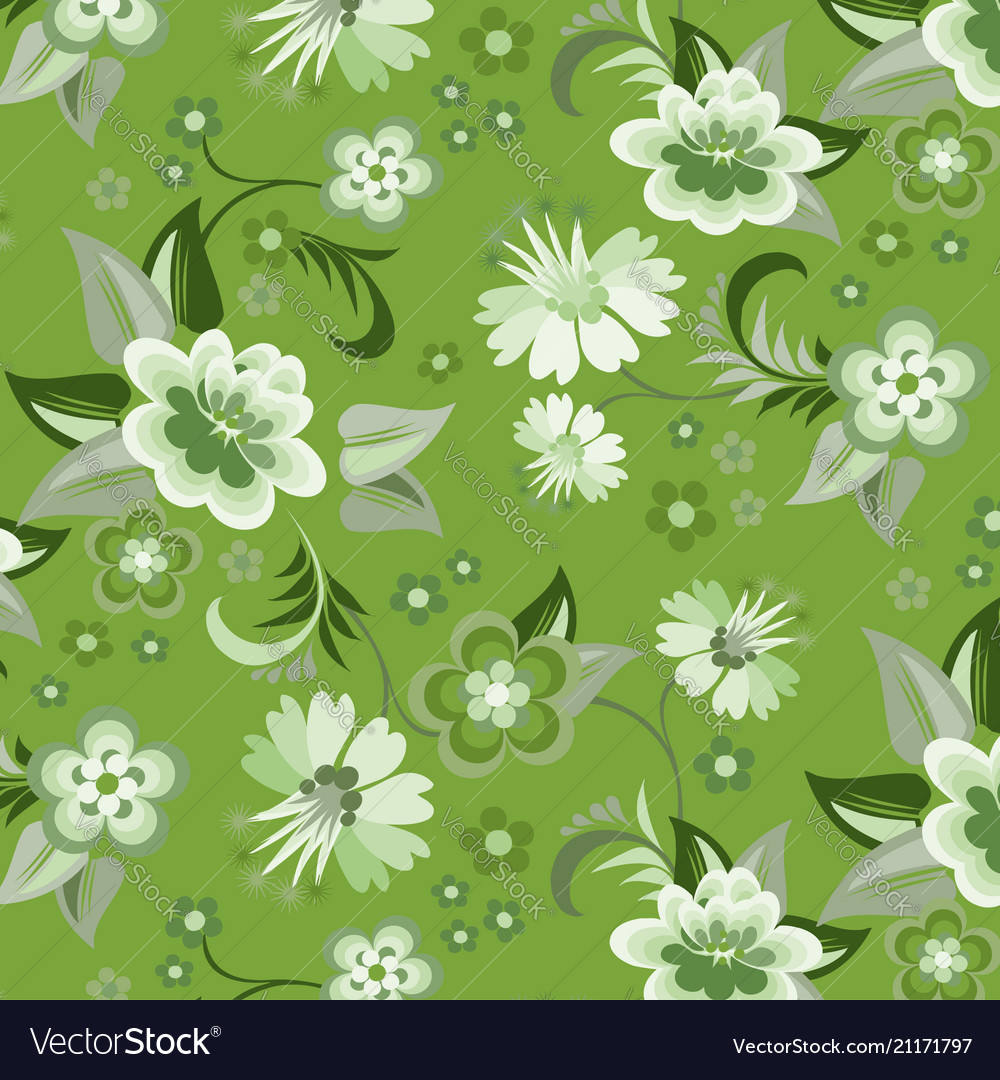 Seamless Green Floral Wallpaper Royalty Free Vector Image