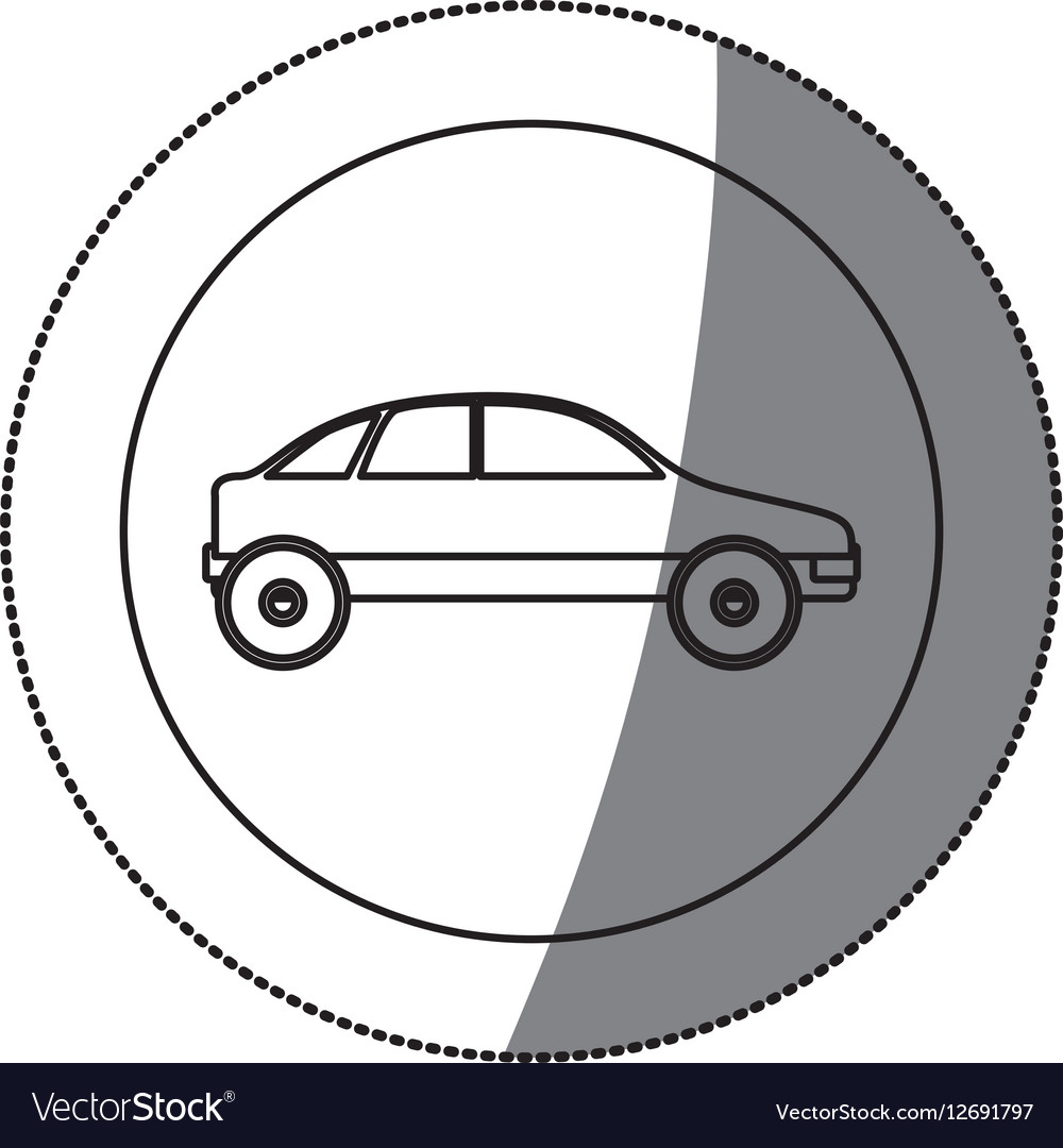 Silhouette circular sticker with vehicle vector image