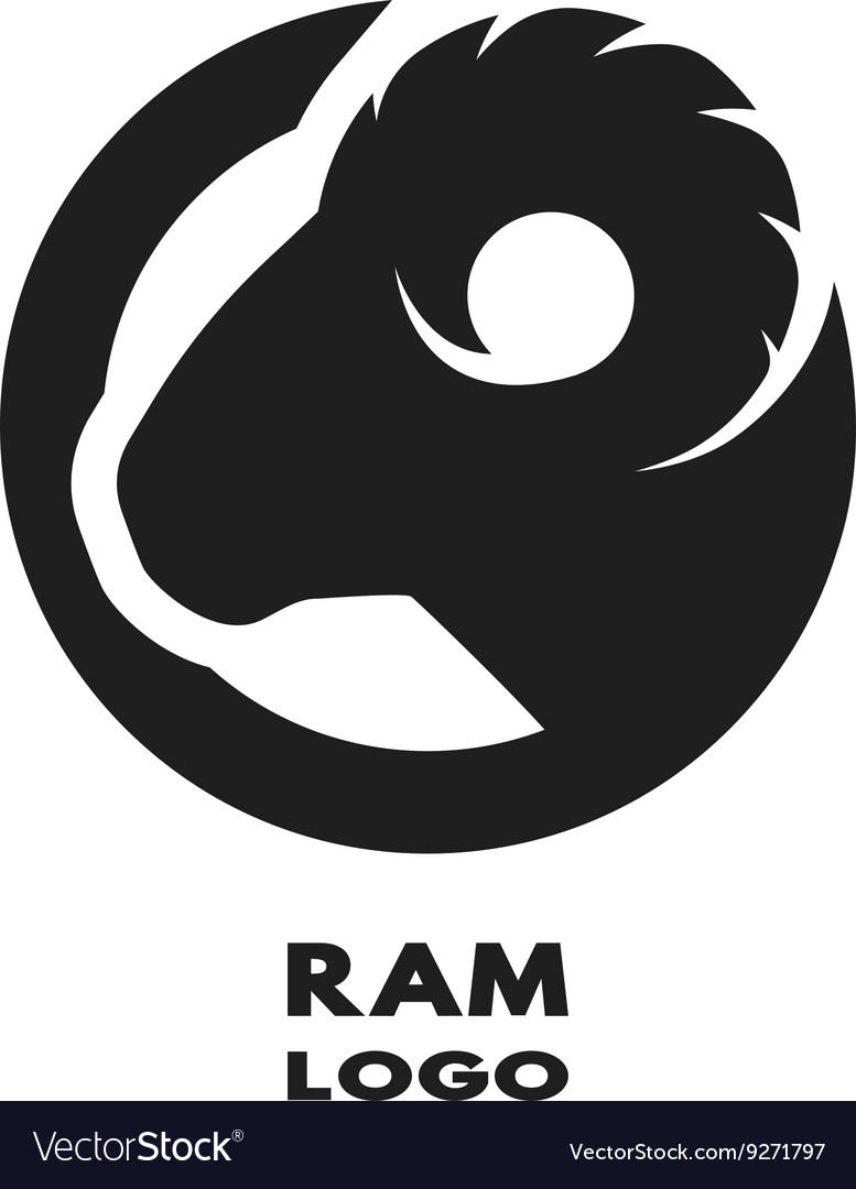 Silhouette of the ram monochrome logo vector image