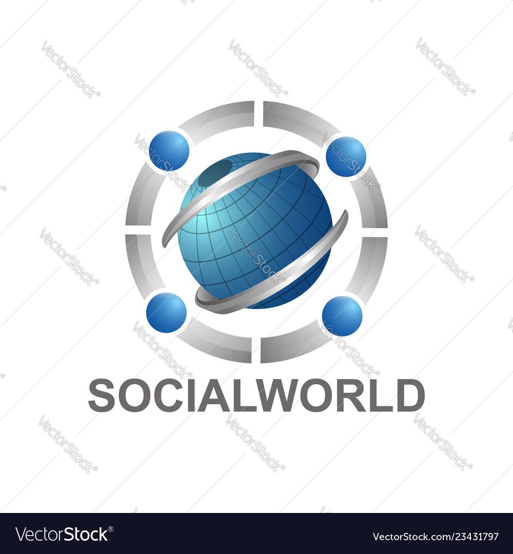 Social world with globe and human character logo
