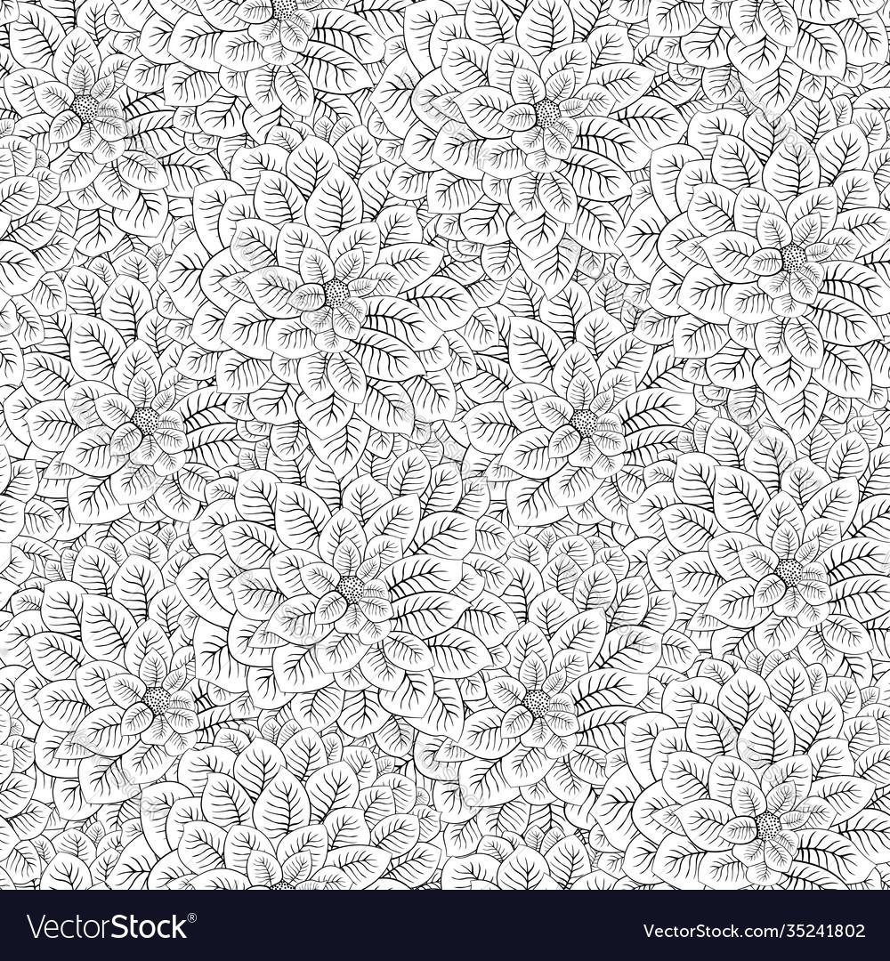 Black white flowers seamless pattern