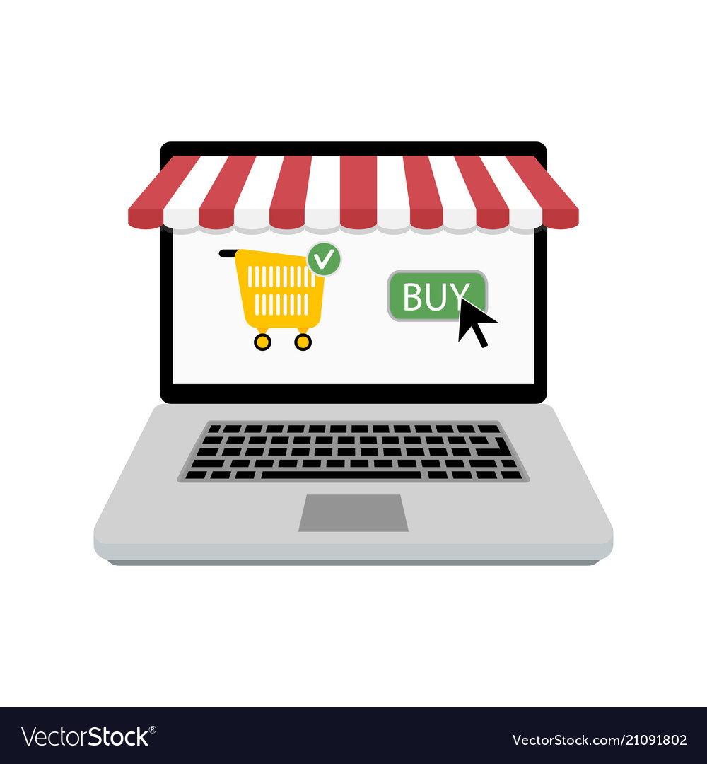Buy online store laptop with web shop Royalty Free Vector