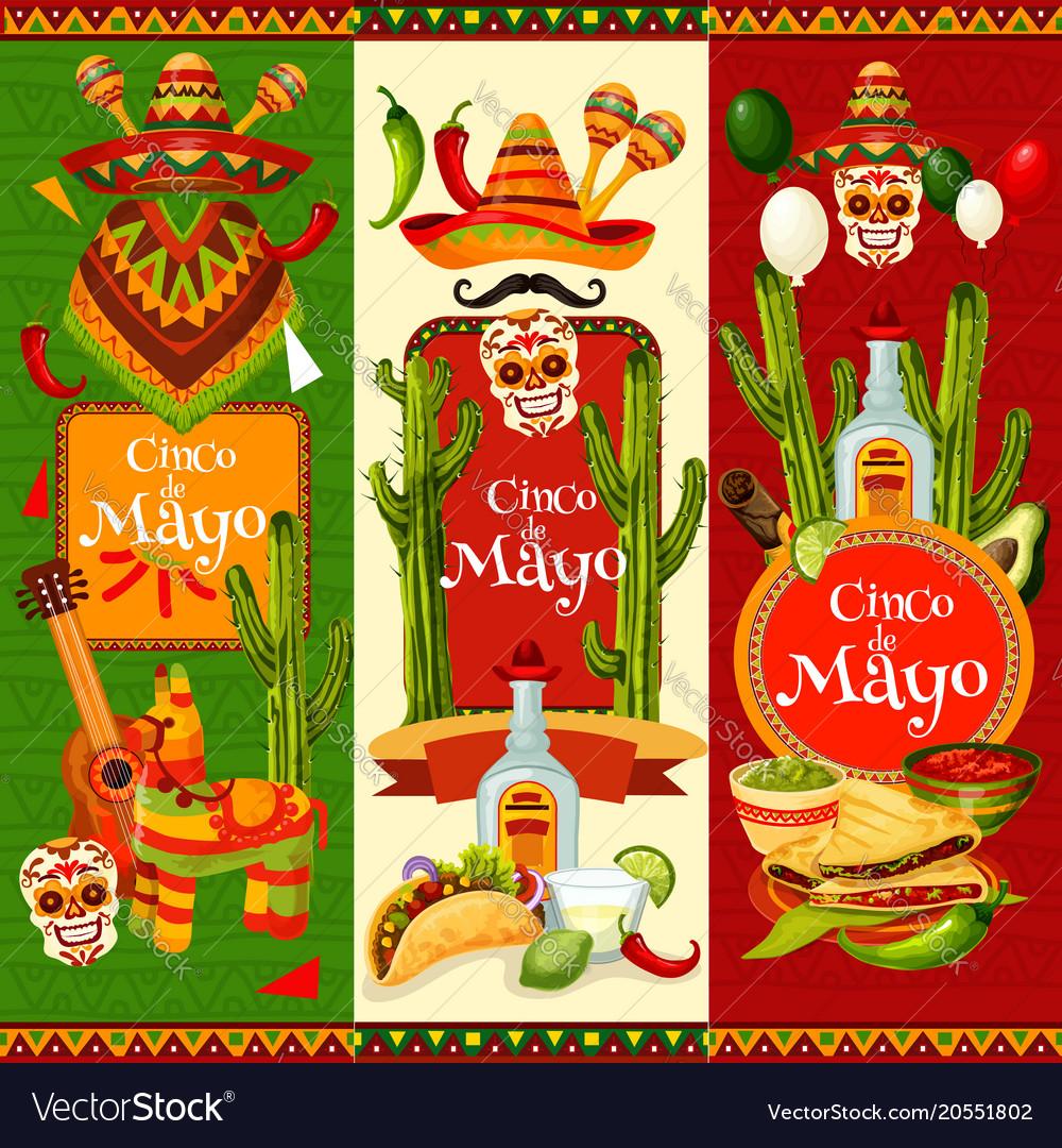 Cinco de mayo banner for mexican party invitation