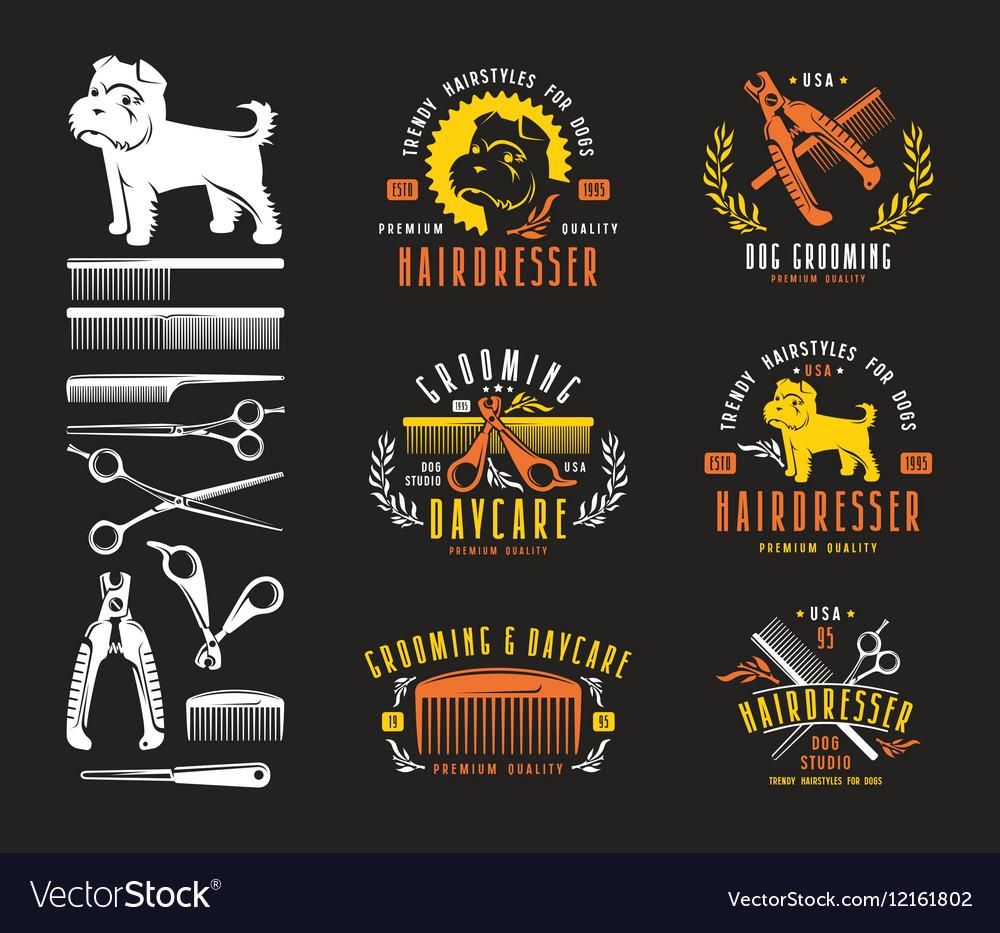 Hairdresser for dog Badges and design elements