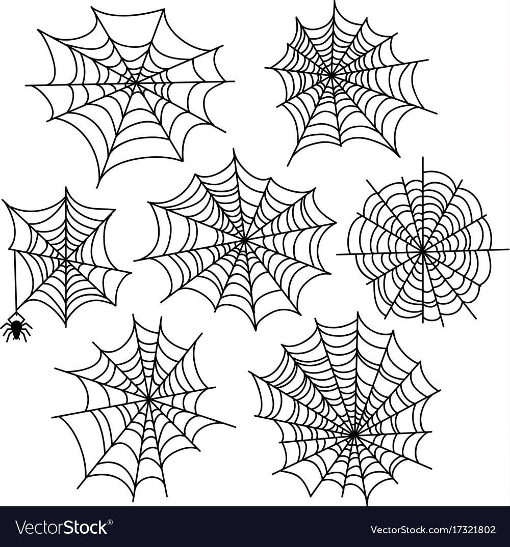 Halloween spider web set cobweb decoration vector image