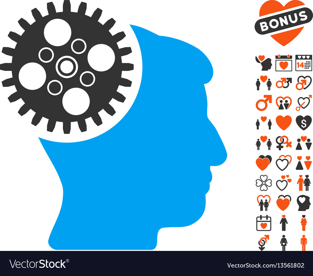 Head gearwheel icon with lovely bonus vector image
