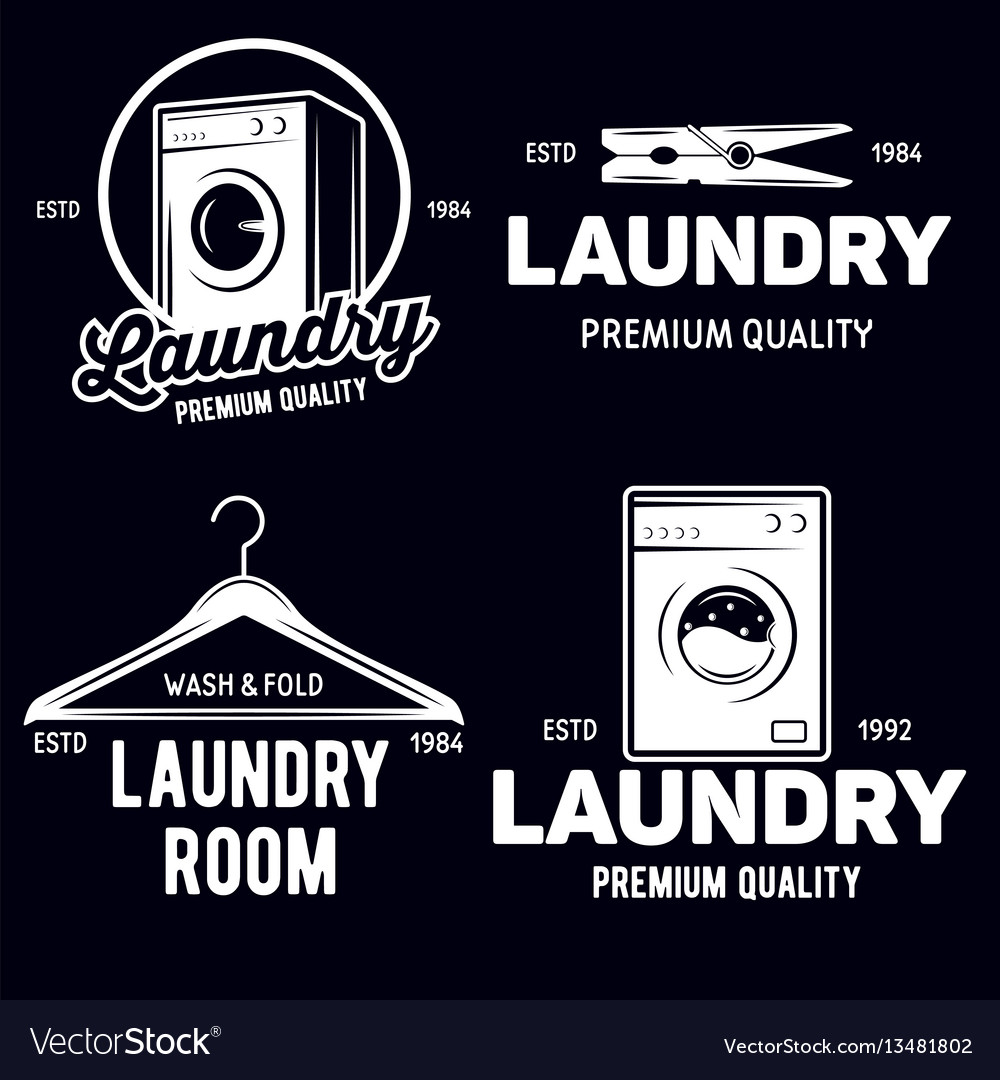 Set of laundry logos emblems and design