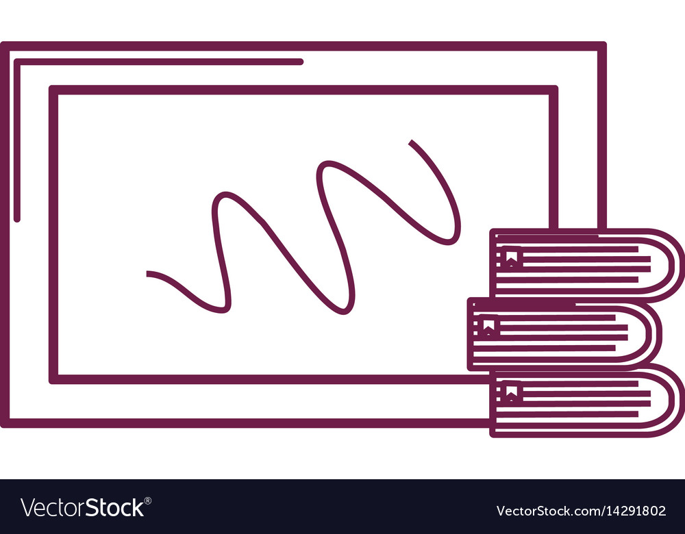Silhouette school board with books tools study vector image
