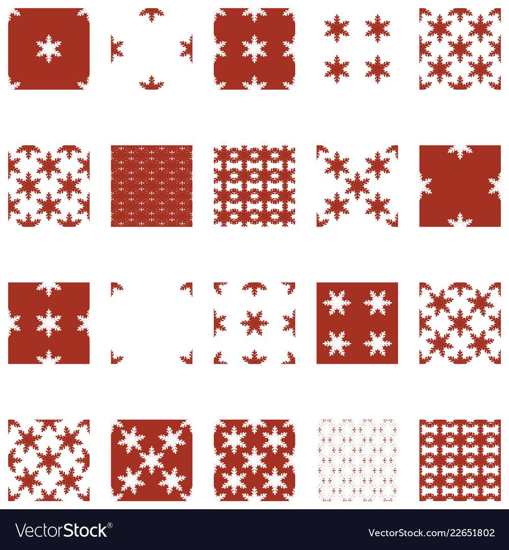Simple snowflake seamless set 03