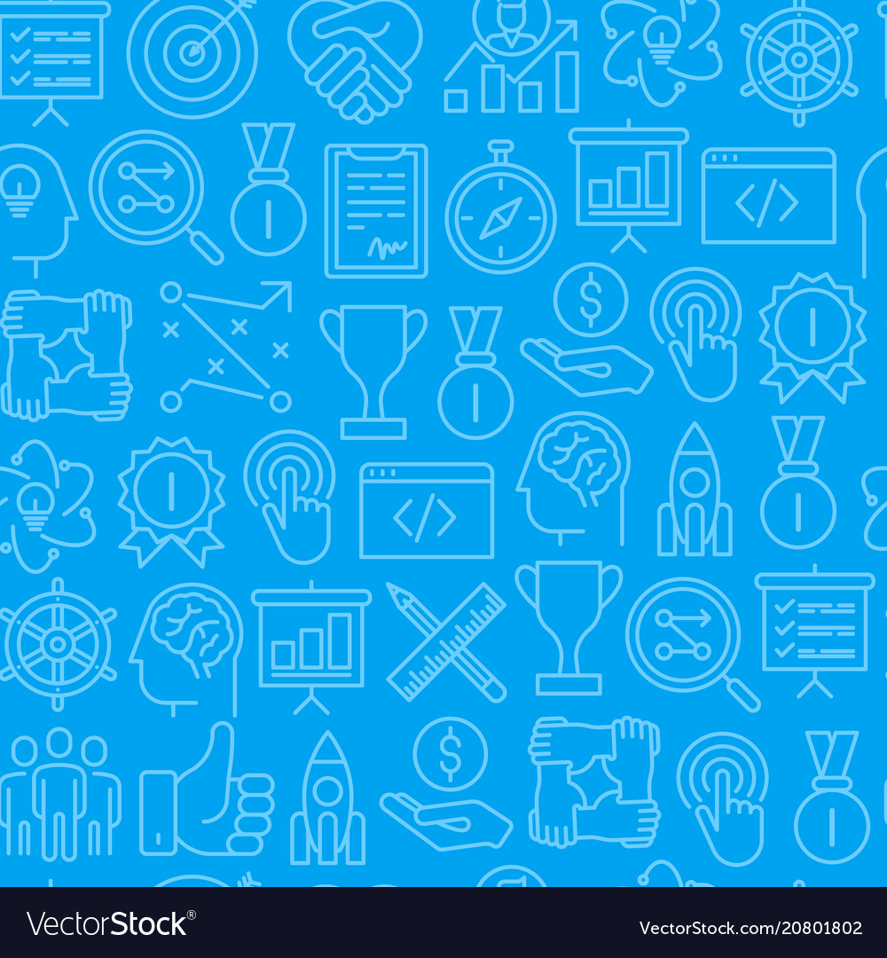Start up seamless pattern with thin line icons