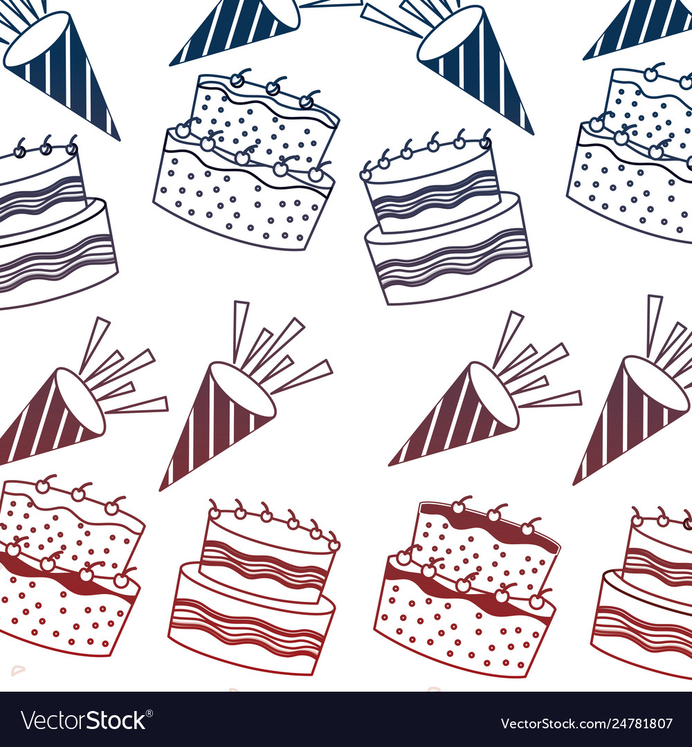 Birthday Cakes With Candles And Sprinkles Vector Image