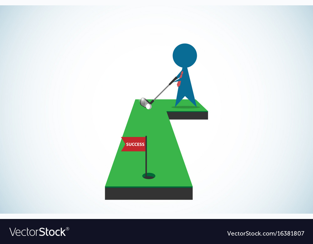 Businessman putting golf ball into hole vector image