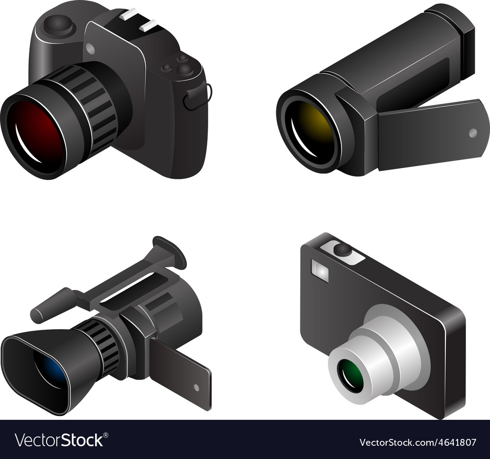 Camera Photos and videos 3d realistic vector image