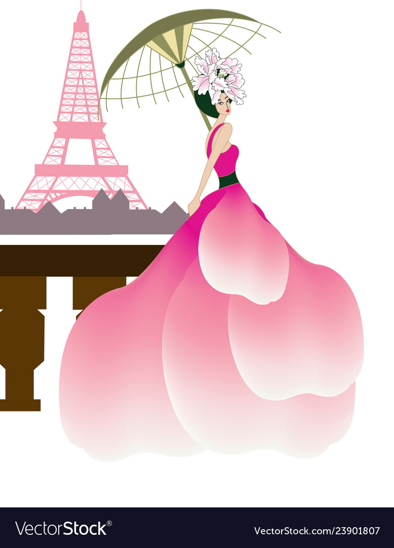 Couture woman at the eiffel tower