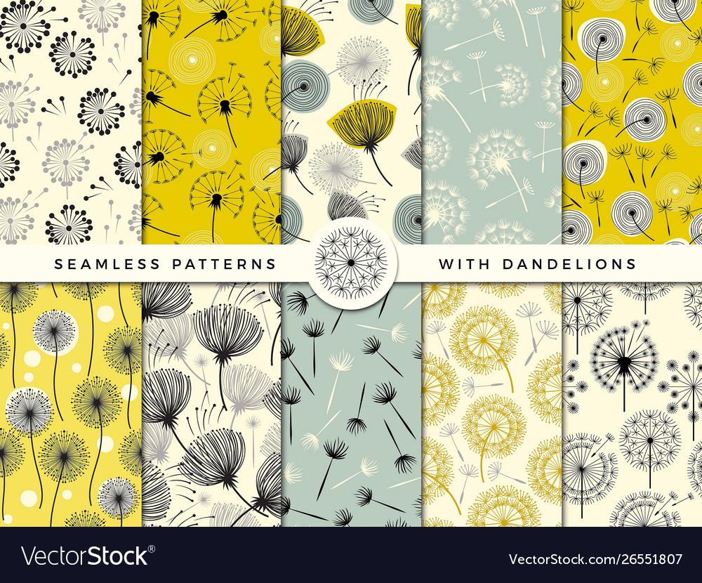 Dandelion seamless wind flowers nature herbal