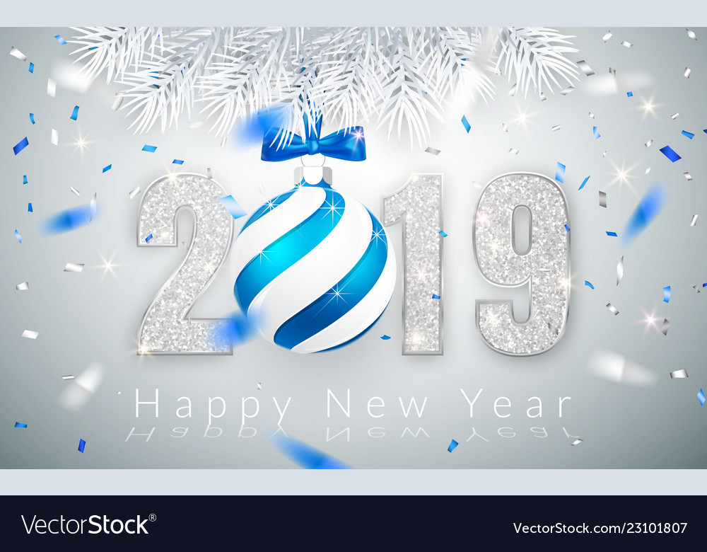 Happy new year 2019 silver numbers design of