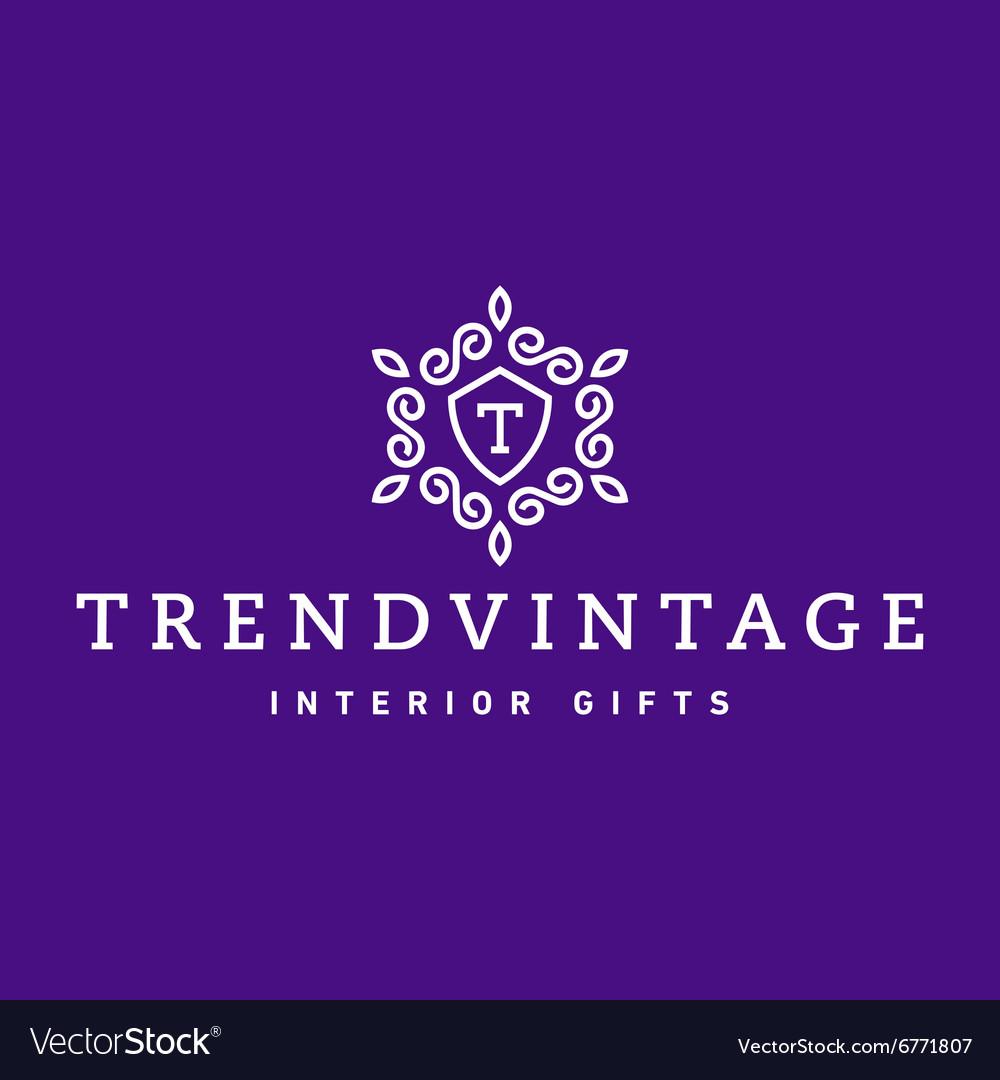 Letter T Monogram pattern trendy vintage logos