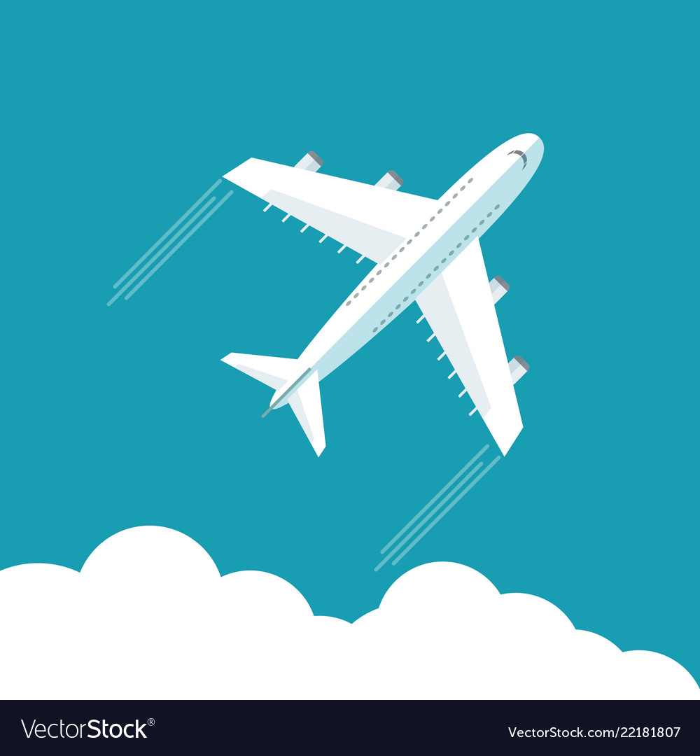 Plane fly on blue cloud sky background with blank