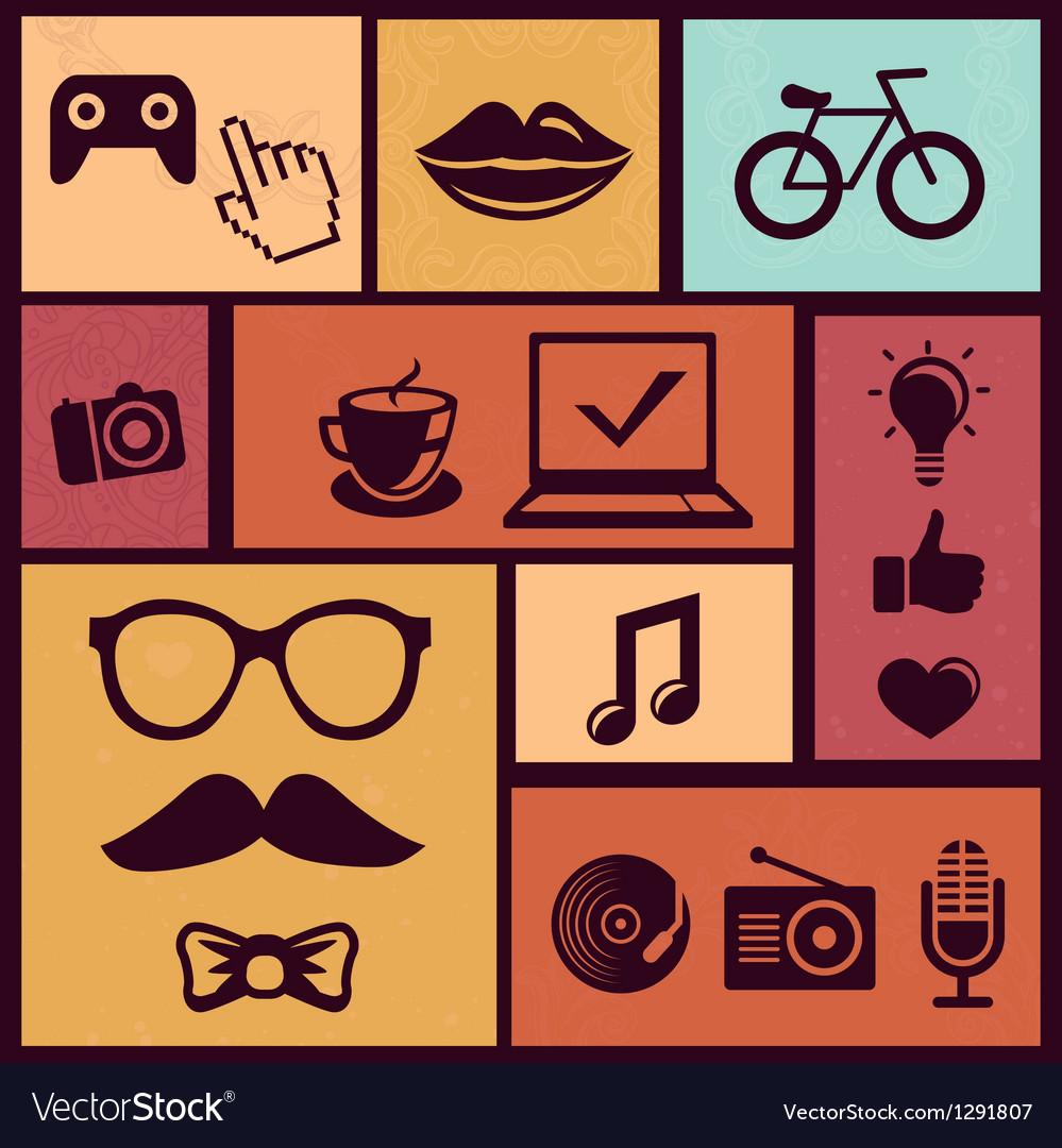 Set with trendy hipster icons and design element i