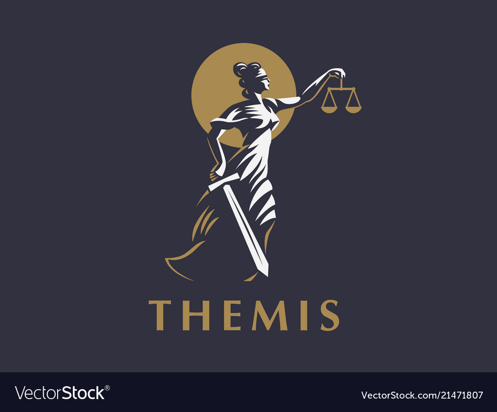 The goddess themis with a sword