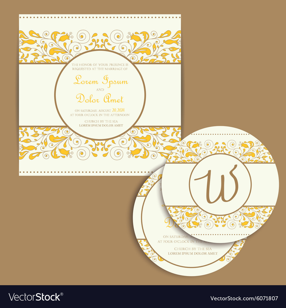 Wedding cards set vector image