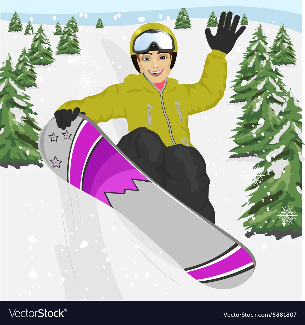 Young man jumping with snowboard at ski resort