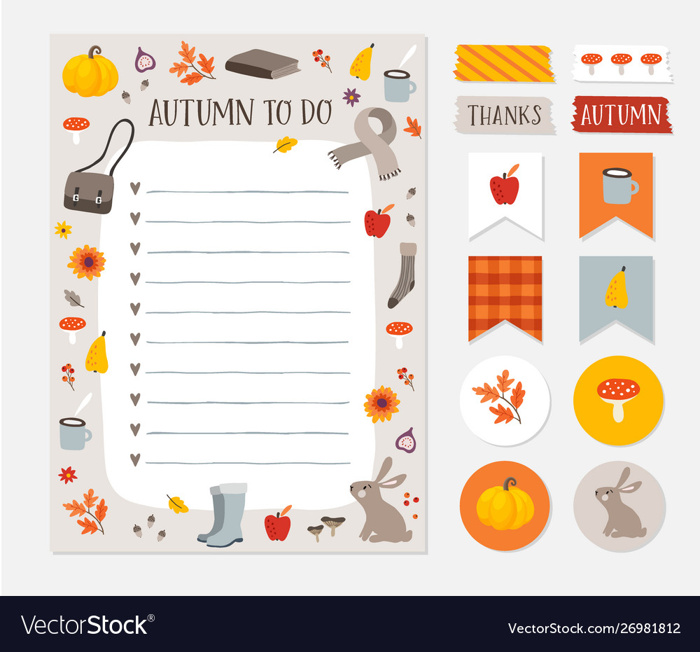 Autumn fall wish to do list colorful