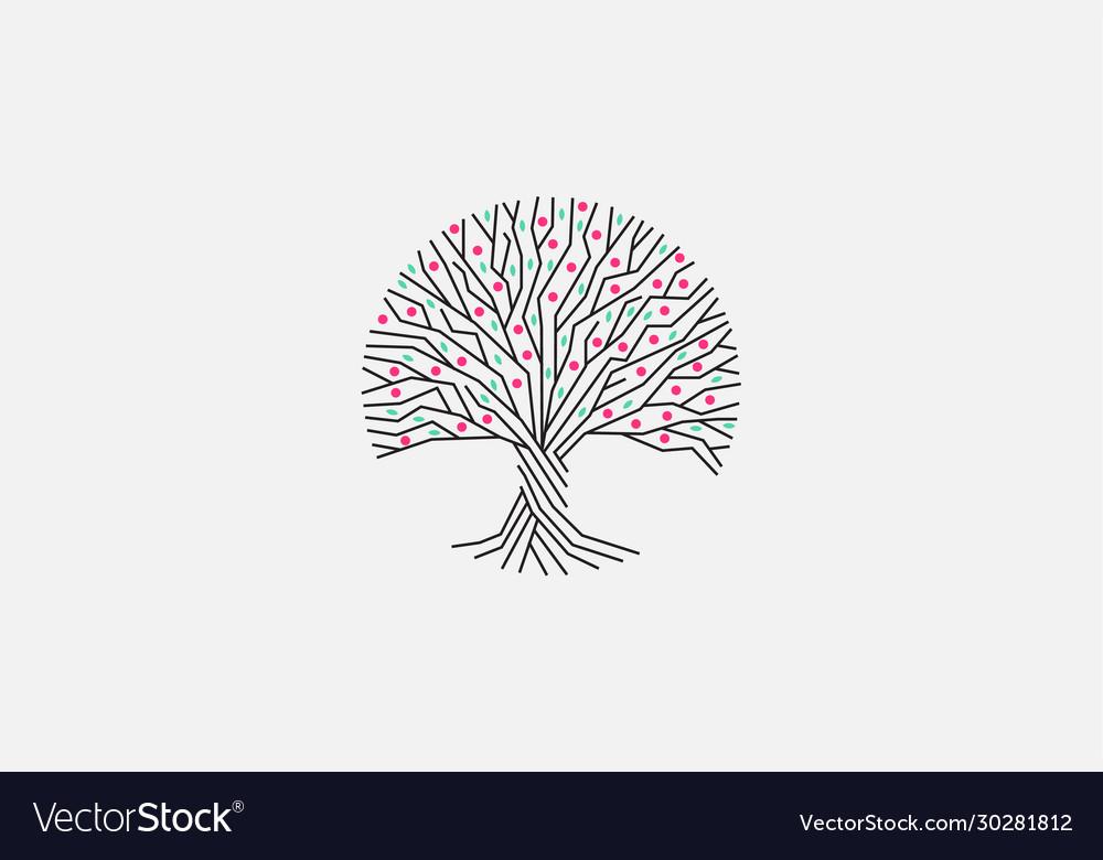 Bloom tree isolated logo blossom tree