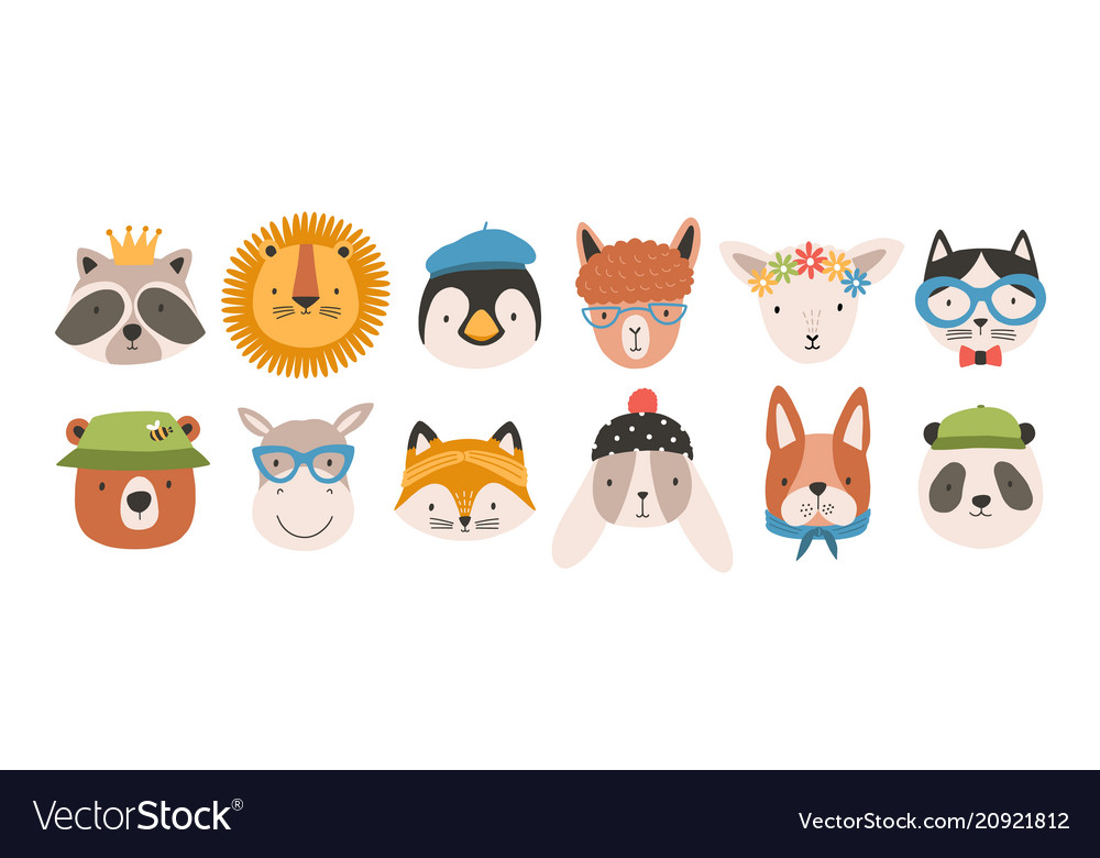 Collection of cute funny animal faces or heads