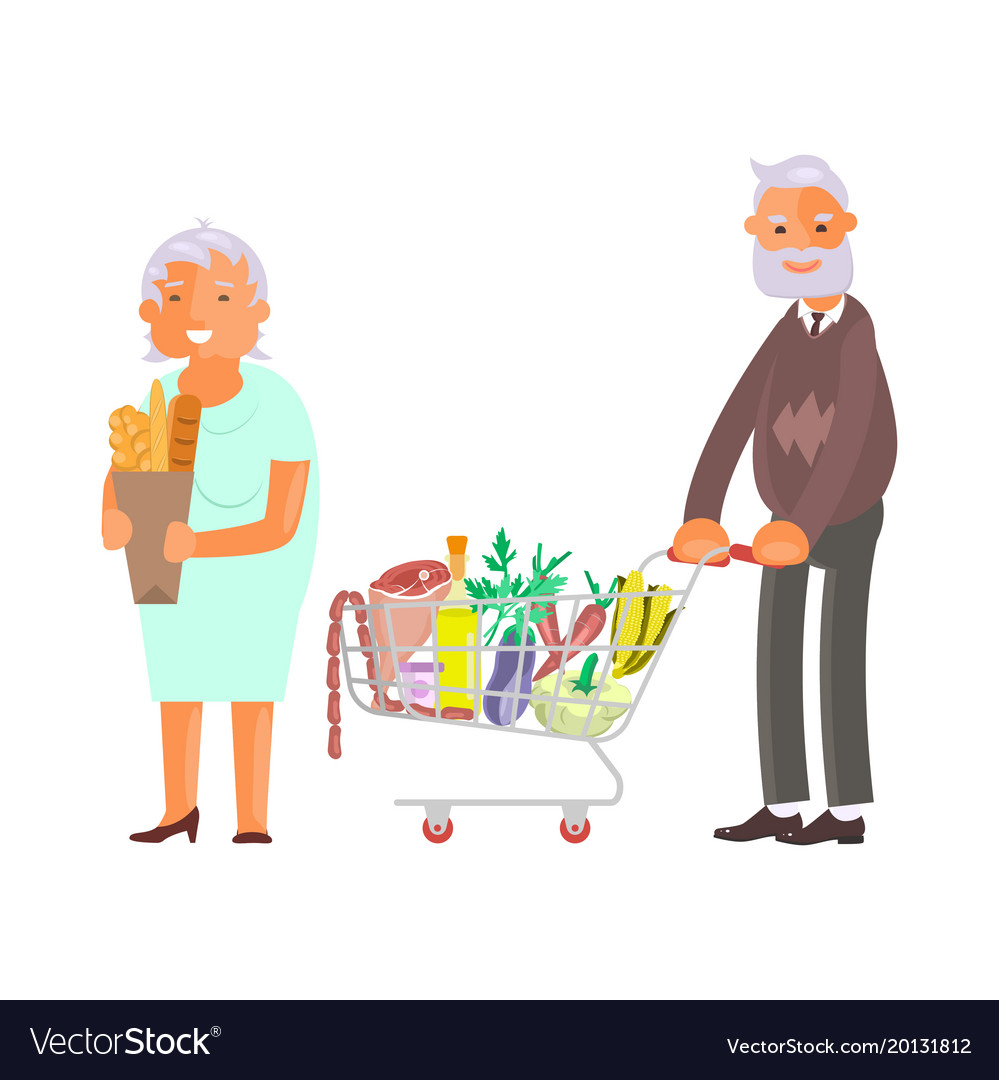 Elderly people on shopping