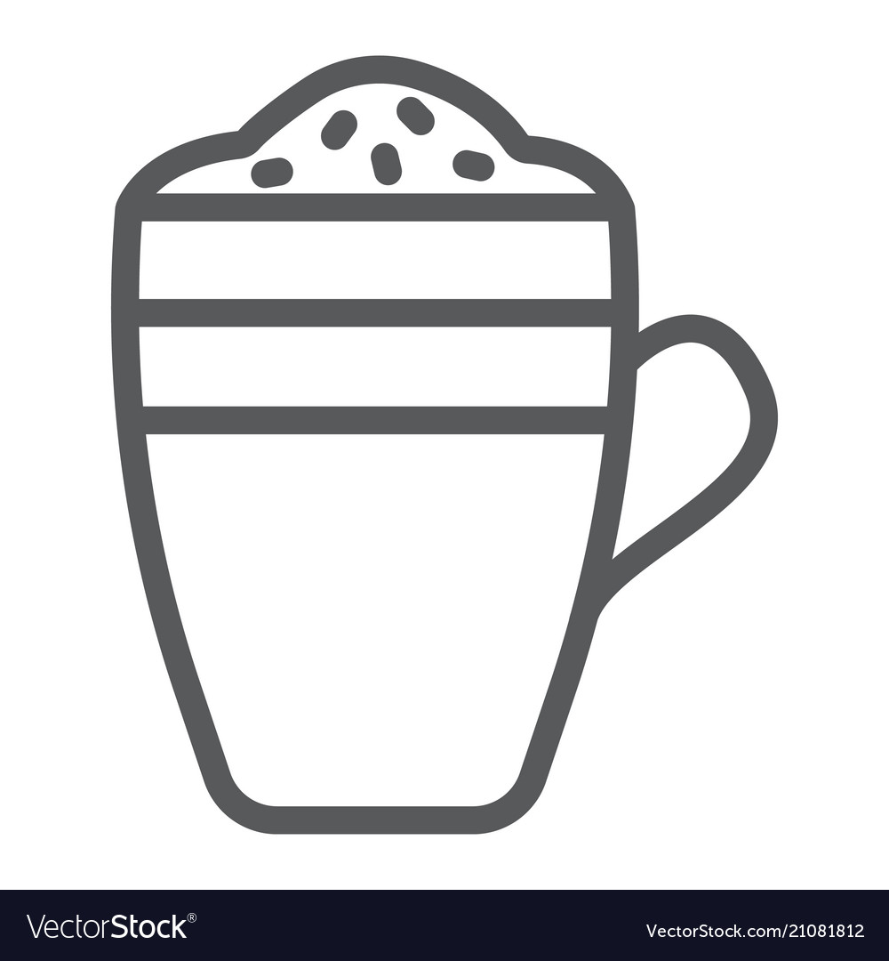 Latte Line Icon Coffee And Cafe Coffee Mug Sign Vector Image