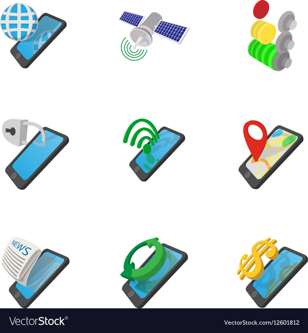 Mobile phone icons set cartoon style