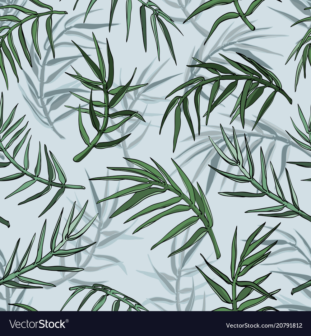 Palm jungle leaves silhouette seamless background