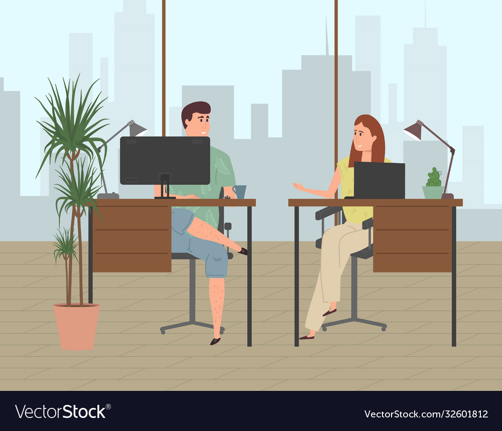 People work in a modern office in a business
