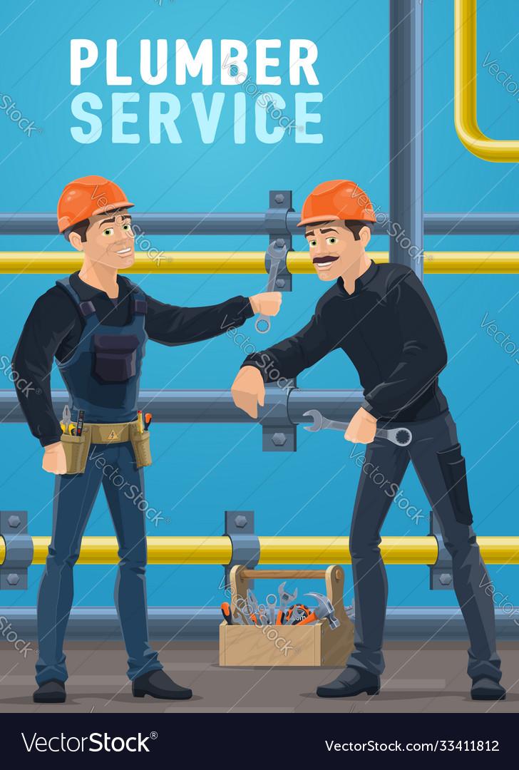 Plumber service workers repairing pipeline