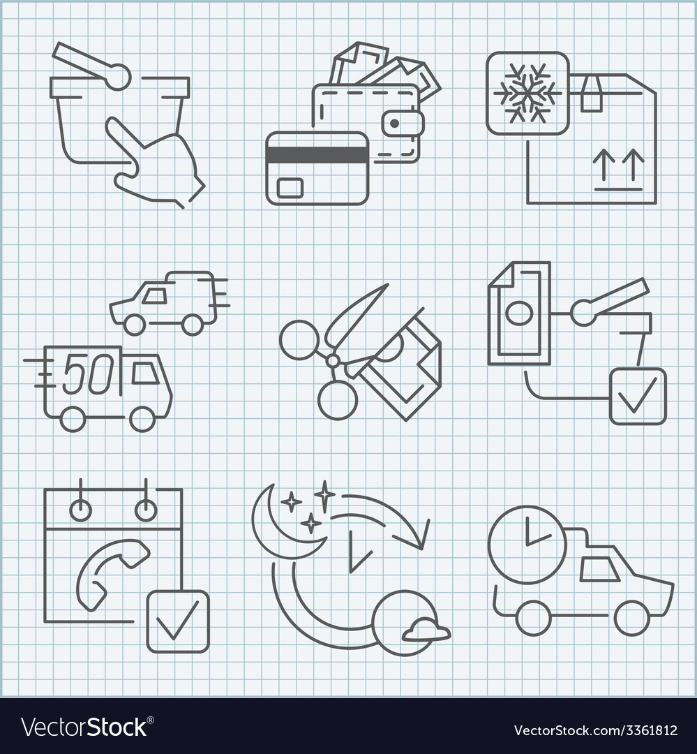 Shoopping store and delivery icons set vector image